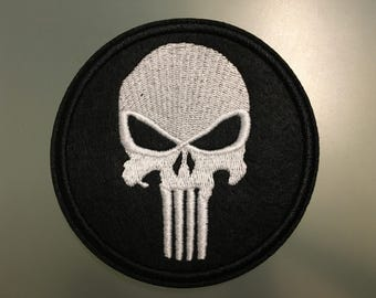 """PUNISHER SKULL Patch - Embroideed Iron On Patch - 3"""" - Frank Castle"""