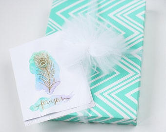 Gift Wrap Service with handmade gold-embossed watercolor card