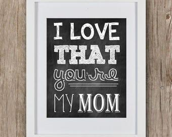 Printable Mother's Day Sign - Mom Gift - I Love You Mom - Gift For Mother - Gift For Her - Mother's Day Gift - Mom Birthday