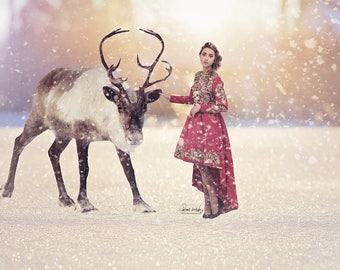 Reindeer Digital Background, Christmas Backdrop for Photographers, Reindeer, children, kids, Christmas Card, Snow Overlay, Instant Download