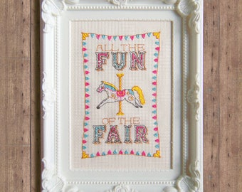 All The Fun Of The Fair Carnival Carousel Cross Stitch Pattern - Instant Download PDF - Cute Vintage Horse Cross Stitch