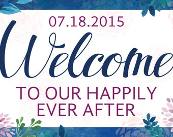 Floral Wedding Welcome Banner