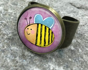 Bumble Bee Ring, Adjustable Ring Bees, Save the Bees, honey bee, bee jewelry, bee jewellery, wife gift, gift for wife, Gift for Her| 30