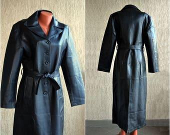 Black Raincoat 80s Faux Leather Women Long Vintage Coat Vinyl Floor Jacket Blazer size L XL  40 - 42