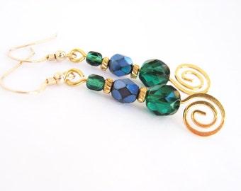 Blue and Green Drop Earrings, Gold Swirl Earrings, Elegant Gold Filled Colorful Bead Earrings, Beaded Dangle Earrings
