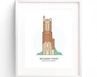 Michigan State University - Beaumont Tower - MSU East Lansing - Poster Print - Wall Art Decor - Collegiate Licensed Product - 8x10