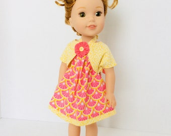 Yellow and Pink Halter Dress and Jacket,Wellie Wisher Doll Clothing, 14-14.5 Inch Doll Clothing, Made To Fit Wellie Wishers, Hearts 4 Heart