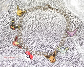 Pokemon Eevee Evolution Eeveelution Charm Bracelet Custom Charms by Torres Designs Collectible Gift Ready To Ship