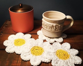 Crochet Daisy Coasters/Set of 4
