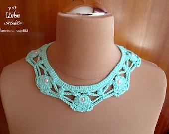 Crochet, and bead crochet necklace OOAK, statement necklace, necklace, necklace chain, bib necklace, handmade, unique