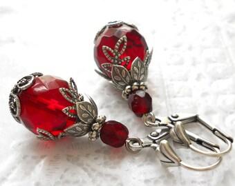 red victorian earrings red earrings red dangle earrings red and silver red vintage style earrings filigree earrings
