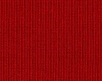 SCARLET RED 2x1 RIBBING, Cotton Lycra blend, Fat Eighth, 9 x 21 inches