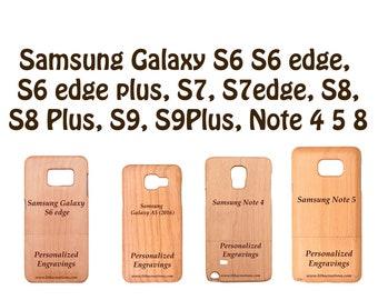 Personnalisé Cherry Wood Samsung housse de portable pour Note 8 5 4 3 Galaxy S9 S8 plus S6 S7 bord S5 S4 mini S3 A5 (2016) avec gravure personnalisée