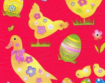 SMALL Easter CHICKENS 716 1 towel paper 33 X 33 X 4 design