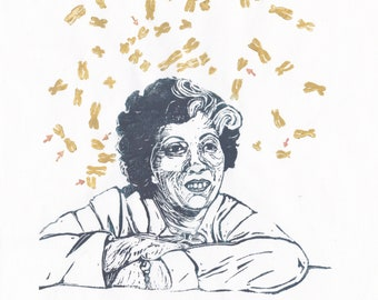 Linocut portrait of genetist & cytologist Irene Ayako Uchida, who discovered risk of maternal x-rays on offspring, Down syndrom expert