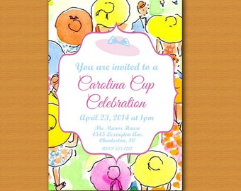SALE! Derby Inspired Invitation, Carolina Cup, Lilly Pulitzer