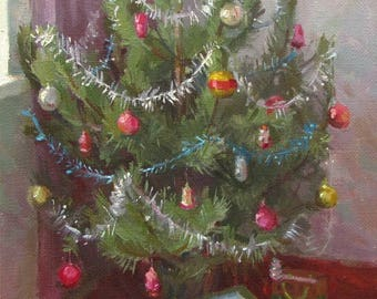 Still life  Christmas tree Happy New Year  Oil on canvas by Pidvarchan Victoriya