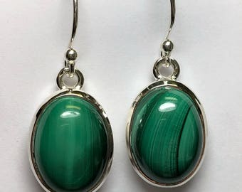Malachite sterling silver earring , FREE SHIPPING