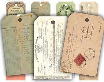 Vintage French Ephemera Tags Digital Collage Sheet Download - 329 - Digital Paper - Instant Download Printables