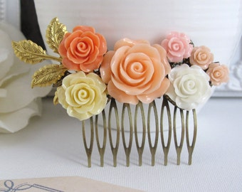 Romantic Peach Rose Hair Comb Accessory. Peach, Pink, Ivory, White Roses, Brass Leaf Bridal Wedding Floral Collage Country Chic Hair Jewelry