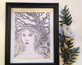In the Owl's Forest - ink pencil drawing by Allison L. Bush-Forsberg