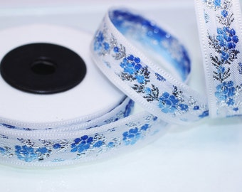 35 mm White Front Blue&Silver Floral Jacquard ribbon (1.37 inches) - Jacquard trim - Balkans Decorative Ribbon - Sewing Trim - Collar Trim
