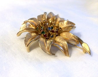 Gold Sunflower Pin Brooch - Multi Colored Rhinestone - Judy Lee Signed 1960s