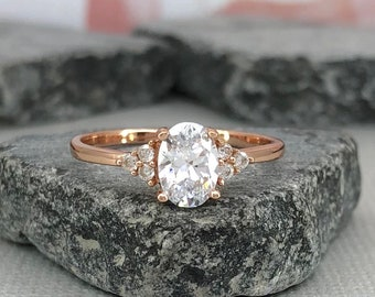 14K Solid Rose Gold Oval Diamond Simulated Dainty Stone Three Stone Engagement Wedding Promise Ring