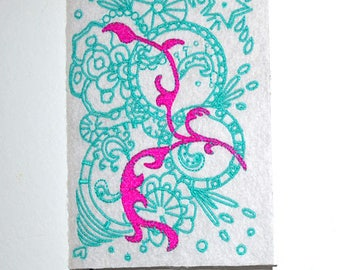 Notebook design embroidered-exclusive-it is easier to draw pink turquoise