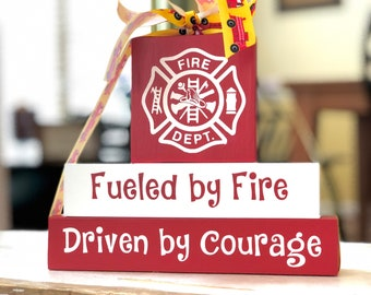 Firefighter Gift - Firefighter Decor - Gift for Firefighter - Gift for Fireman - Firefighter Blocks - Kids Room Decor - Fireman Decor