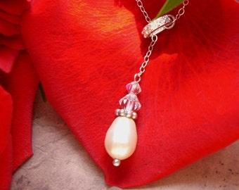 Bridal Pearl Lariat Necklace- bridal, bride, wedding, bridesmaid gift, swarovski