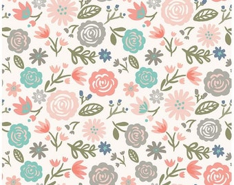 Floral Cotton Fabric - Blush, Gray, Mint Modern Flower Heart and Soul Main Blush - Riley Blake Designs by Deena Rutter - Coral Floral Fabric