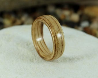 Zebrano Bent Wood Ring - Hand Made Wooden Rings In Any UK or US Size. Bentwood Rings, Mens Wood Rings, Womens Wood Rings