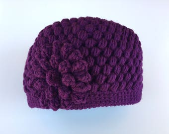 READY TO SHIP/Violet Purple Hat/Knit Knitted/Crochet Hat/Super Cute/Warm/Thick Chunky/Winter/Beanie/Flower Hat/Adult/Women/Ladies/Girl/Toque