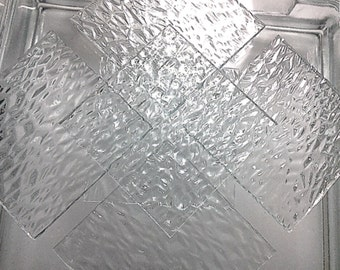 """Sheet - CLEAR """"ICE"""" TEXTURED Transparent Stained GlassMosaic F24"""