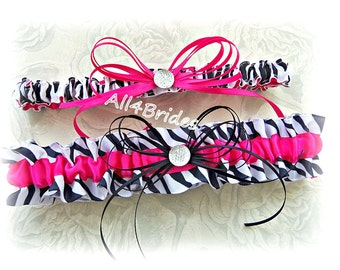 Hot pink and black zebra weddings bridal garter set, zebra print leg garter belt.