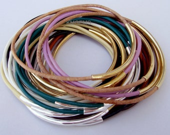 Made in USA - 6 Custom Leather Bangles - GOLD / SILVER  Tube - Pick Color Leather / Size - Lead Free Leather Tube Bangle - 24 Colors