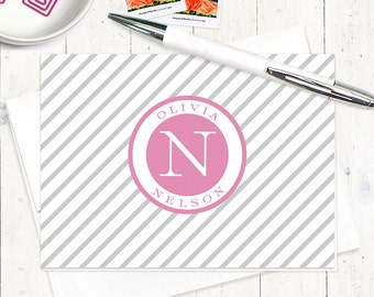 personalized note cards set - CIRCULAR NAME MONOGRAM with lines - set of 8 folded cards - monogrammed stationery