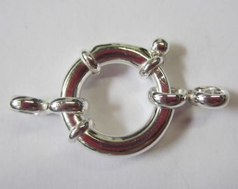 1pc 20mm Solid .925 Sterling Silver Spring Ring Clasp with Connector Big Large