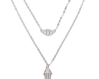 Dainty Minimalist Bijoux Stack Multi Hamsa Evil Eye Necklace Pendant Choker
