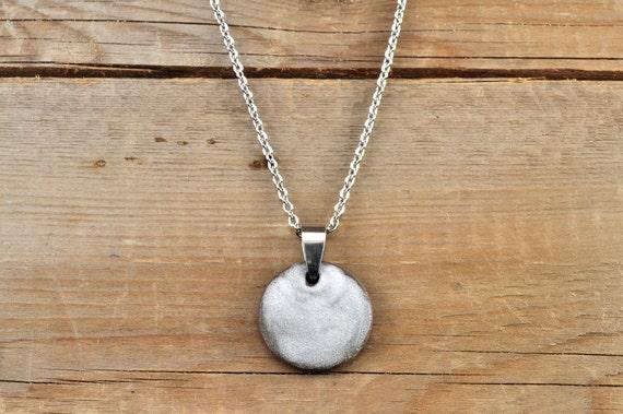 MEDIUM matte white round stoneware pendant