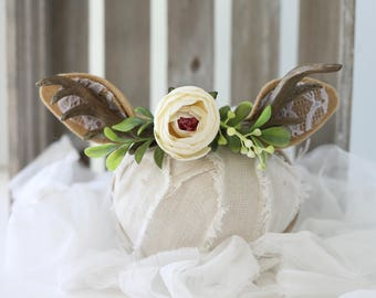 fairest fawn newborn fawn deer woodland antler crown halo floral headband prop ready to ship
