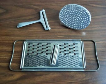 Price Reduction Metal Graters Lot of 3, Wire Cheese Slicer, Vegetable Grater, Cheese Grater, Vintage Kitchen Gadget Props, Food Photo Props