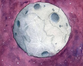 Moon Watercolor