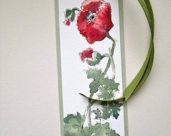 Poppy Bookmark Watercolor Bookmark Poppies Bookmark Handpainted Bookmark Pen Ink Watercolor Handmade Original Art OOAK Flower Bookmark Sally