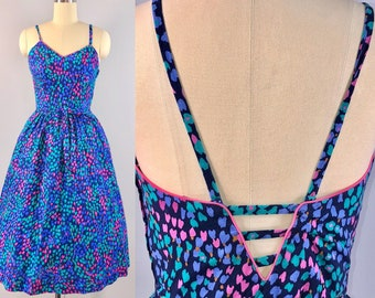 70s Dress Vintage 1970s Lanz Cotton Print Blue Sun Dress Fitted Full Skirt small 32 bust casual beach party sundress