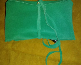 """Tobacco pouch, Craft pouch, Makeup pouch 7"""" by 9.5"""" Made with Green suede."""