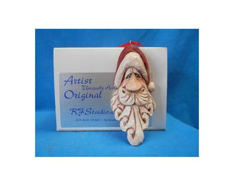 Hand Carved Santa Claus Face Ornament #18003