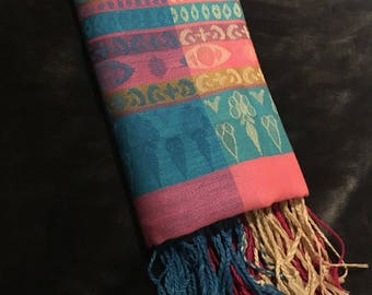 Luxury Womens 100% Pashmina Scarf Pink and Blue | Perfect Gift | Valentines Day Present