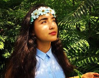 Blue Fancy Flower Headband